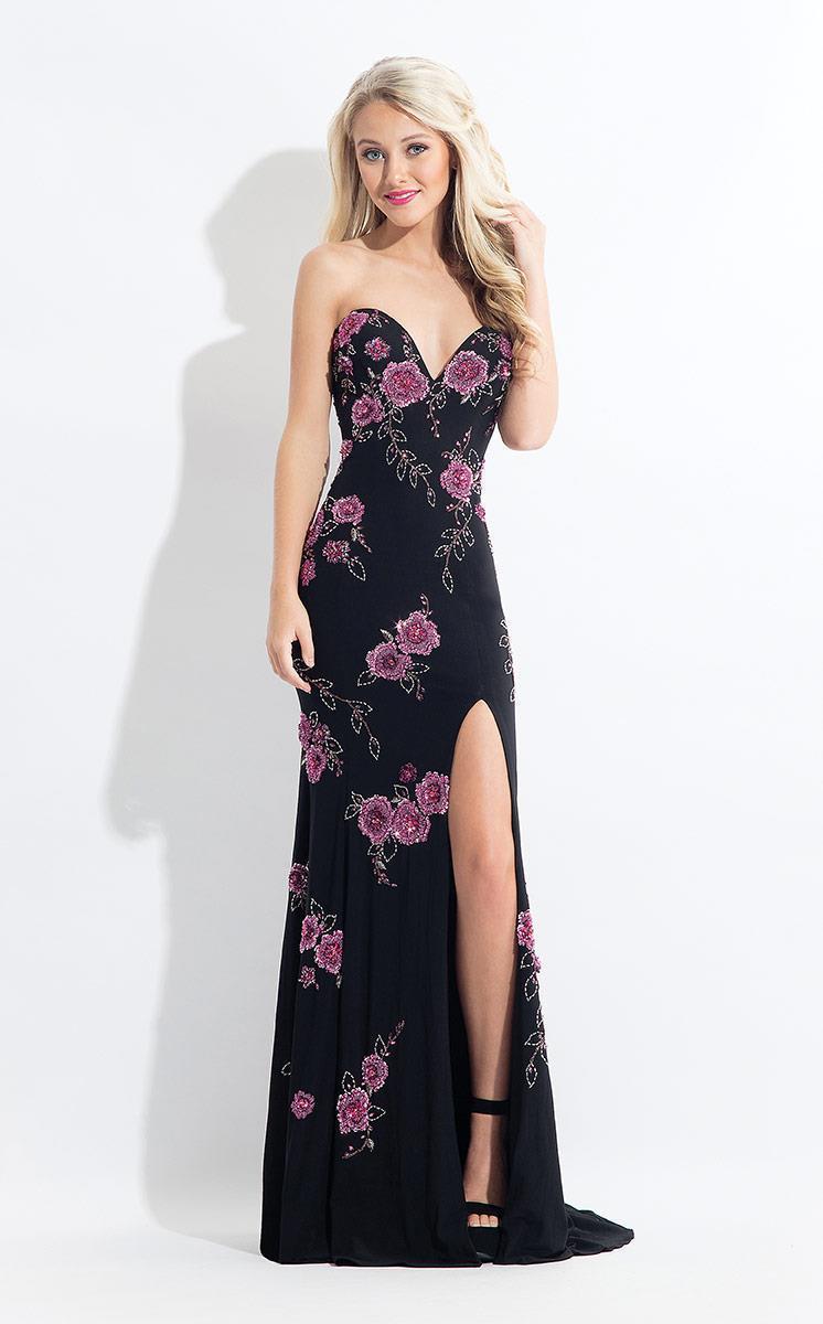 Rachel Allan - 6203 Strapless Floral Ornate Sheath Gown