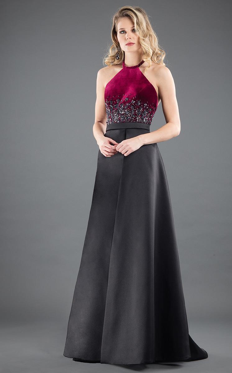 Rachel Allan Couture - 8279 Floral Beaded Halter Gown