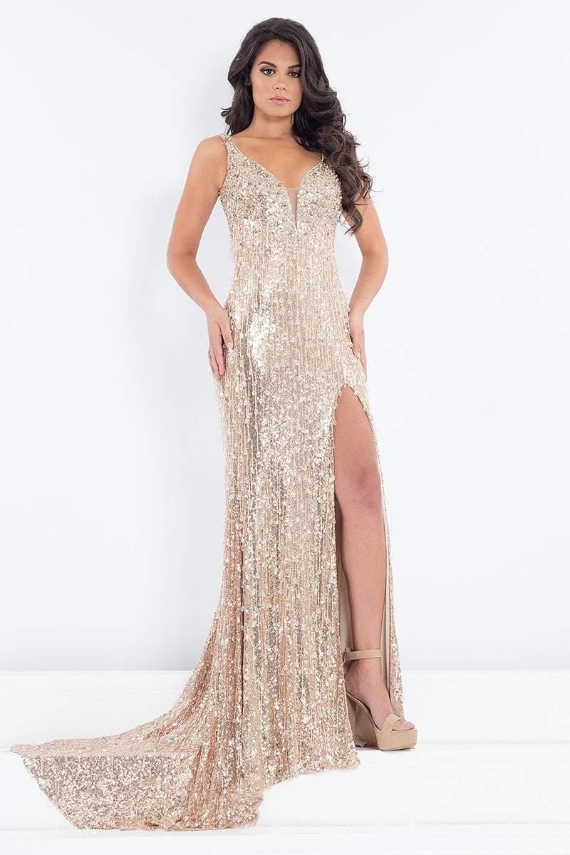 Rachel Allan Prima Donna - 5001 Sequined Sleeveless Metallic Gown