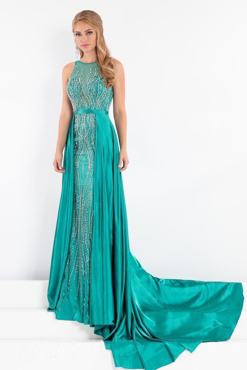 Rachel Allan Prima Donna - 5003 Beaded Gown with Satin Overskirt