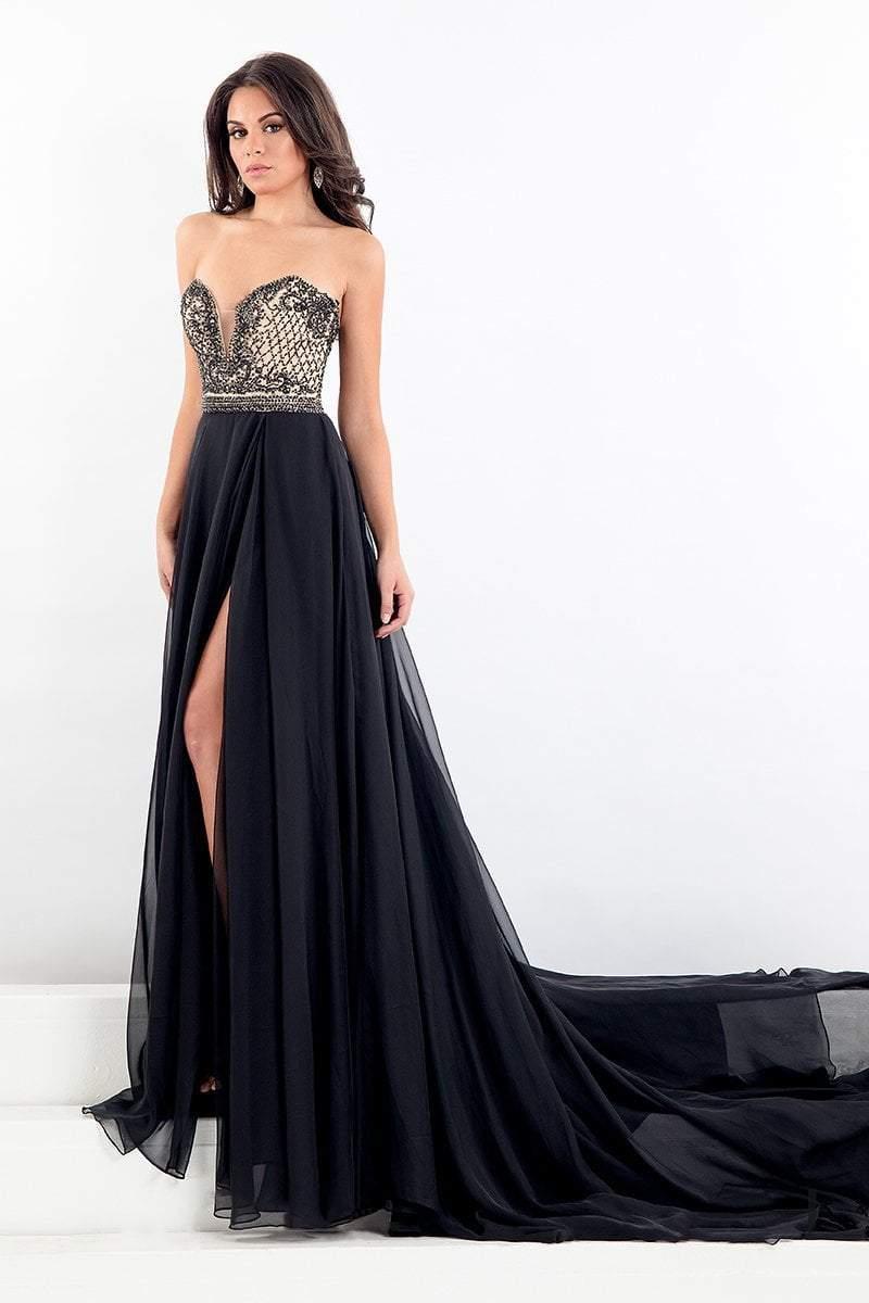 Rachel Allan Prima Donna - 5006 Strapless Sweetheart Slit Evening Gown