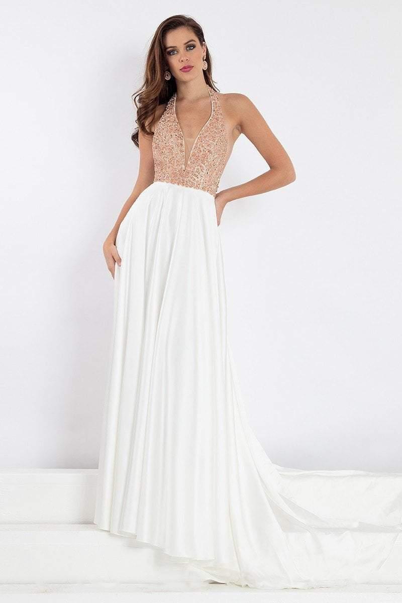 Rachel Allan Prima Donna - 5013 Plunging Halter Beaded Evening Gown