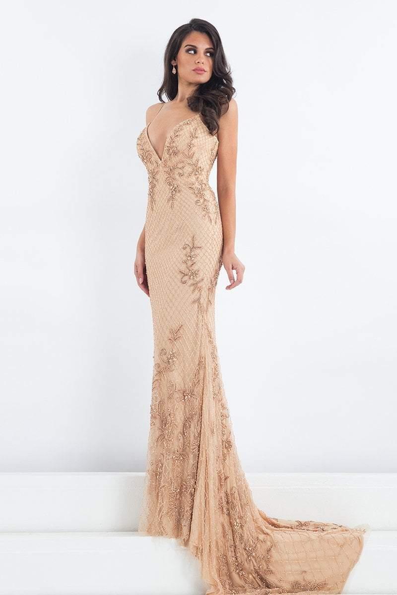 Rachel Allan Prima Donna - 5014 Plunging Lattice Beaded Evening Gown