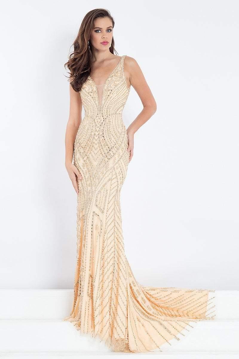 Rachel Allan Prima Donna - 5016 Bedazzled Plunging V-Neck Prom Dress