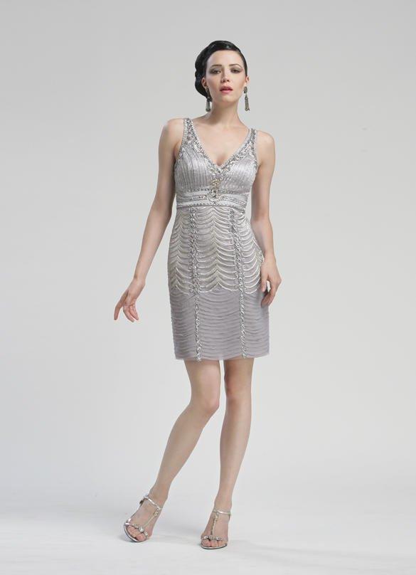 Sue Wong - Metallic Embroidered Sheath Dress N3177