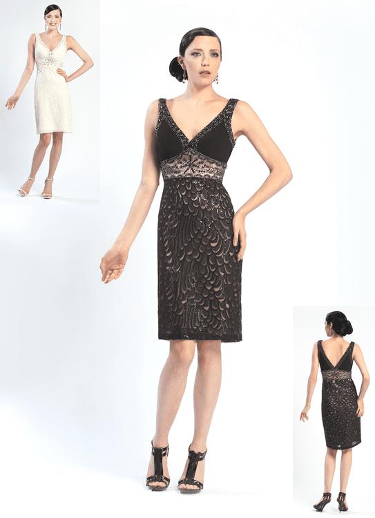 Sue Wong - N4367 V-Neck Mesh Cocktail Dress