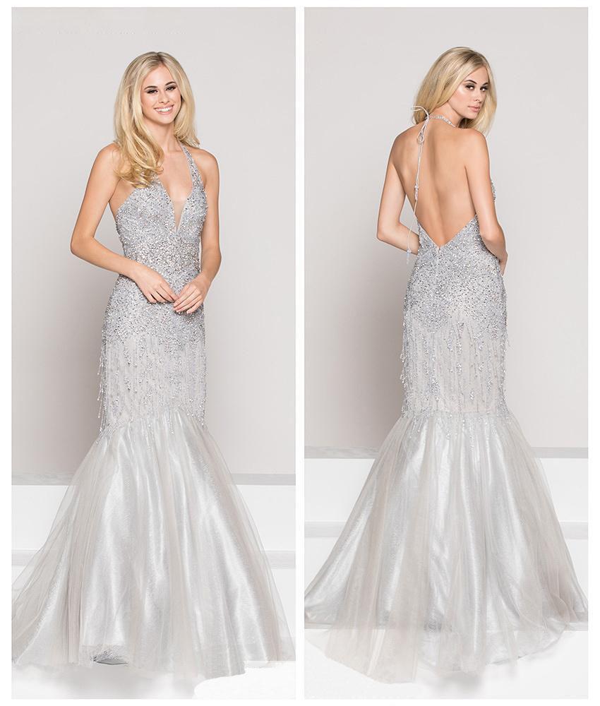 Colors Couture - J053 Embellished Halter Mermaid Dress