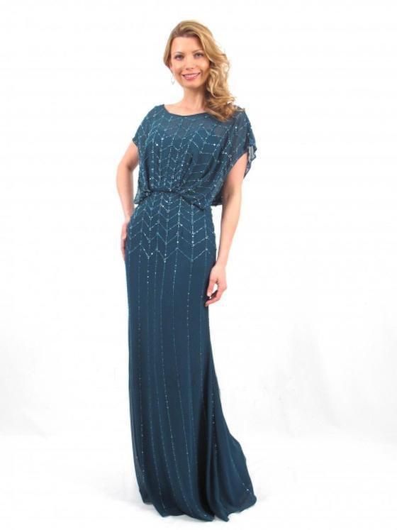 Daymor Couture - 665 Beaded Scoop Neck Blouson Long Dress