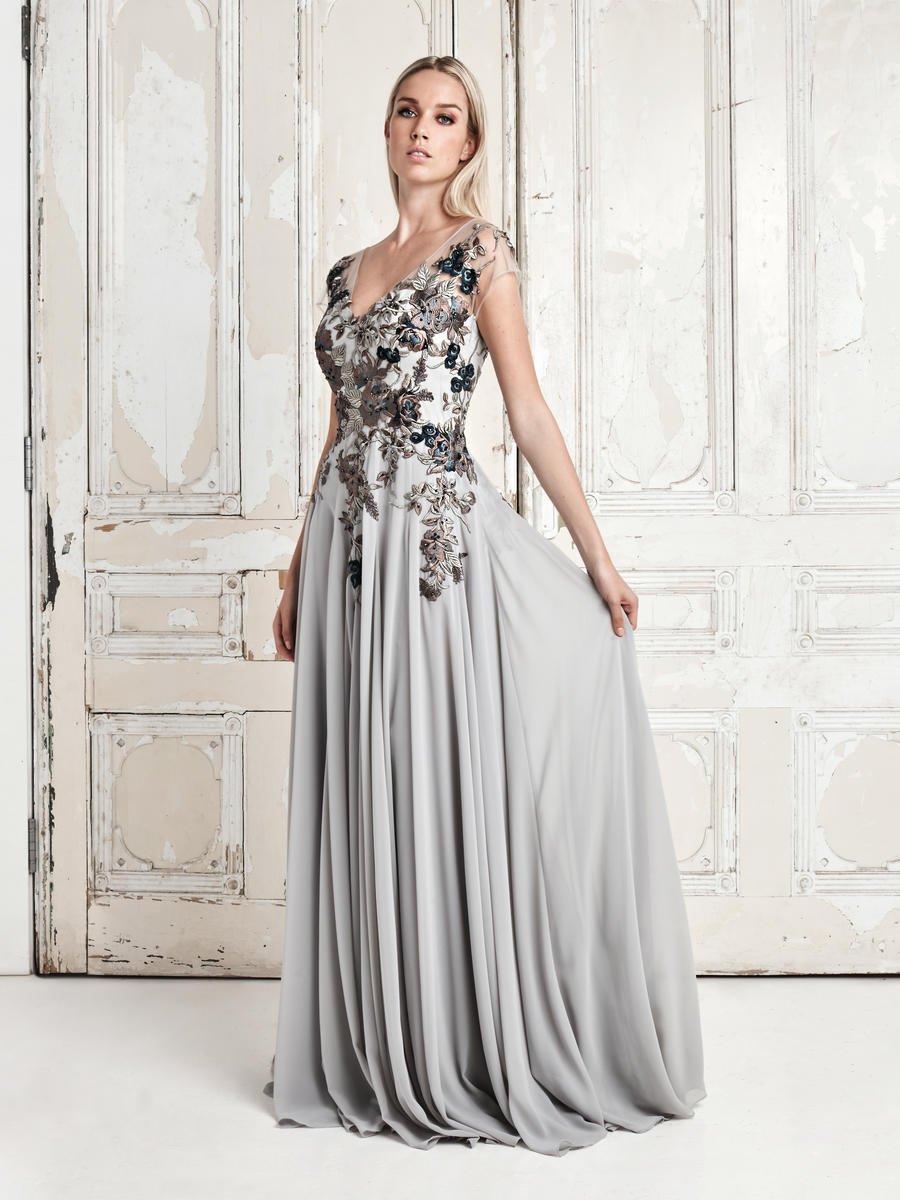 Daymor Couture - 758 Floral Embroidered Wide V-neck A-line Dress