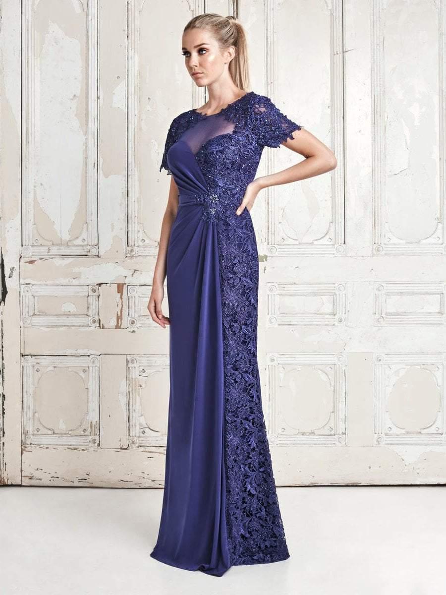 Daymor Couture - 764 Beaded Lace Bateau Neck Sheath Dress