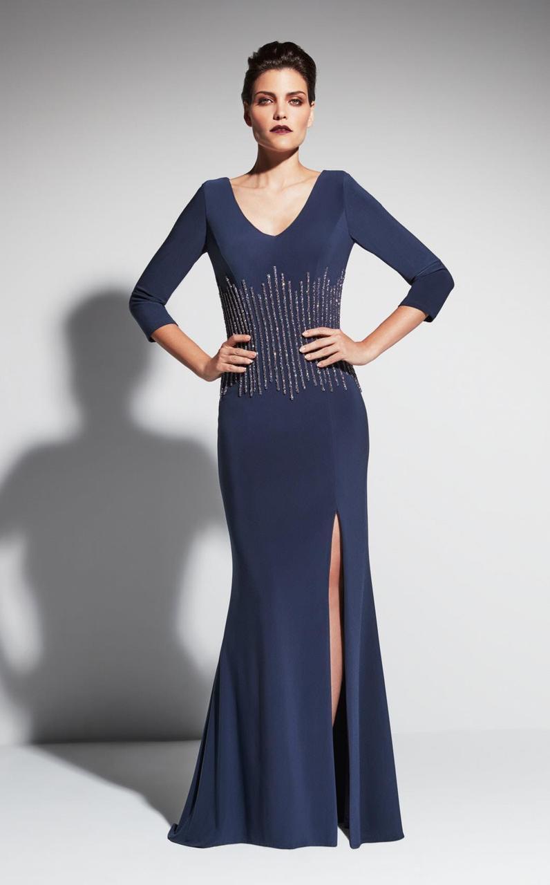 Daymor Couture - Bejeweled V-neck Sheath Dress 463