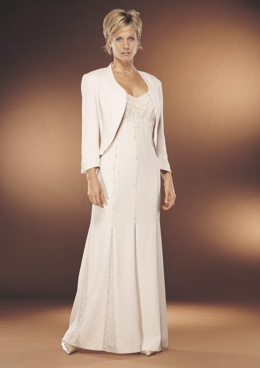 Daymor Couture - Embellished Stripes Sheath Dress 7132