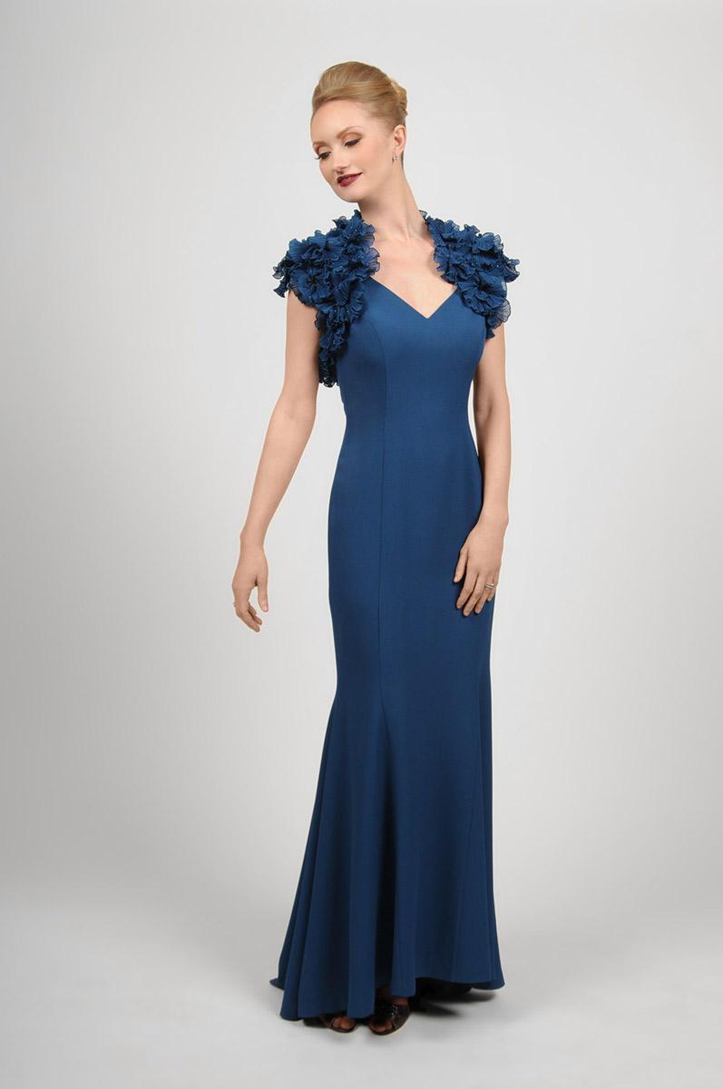Daymor Couture - Embellished V-Neck Trumpet Dress 413