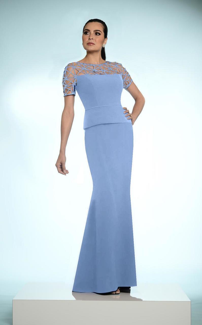 Daymor Couture - Lattice Bateau Neck Long Dress 802