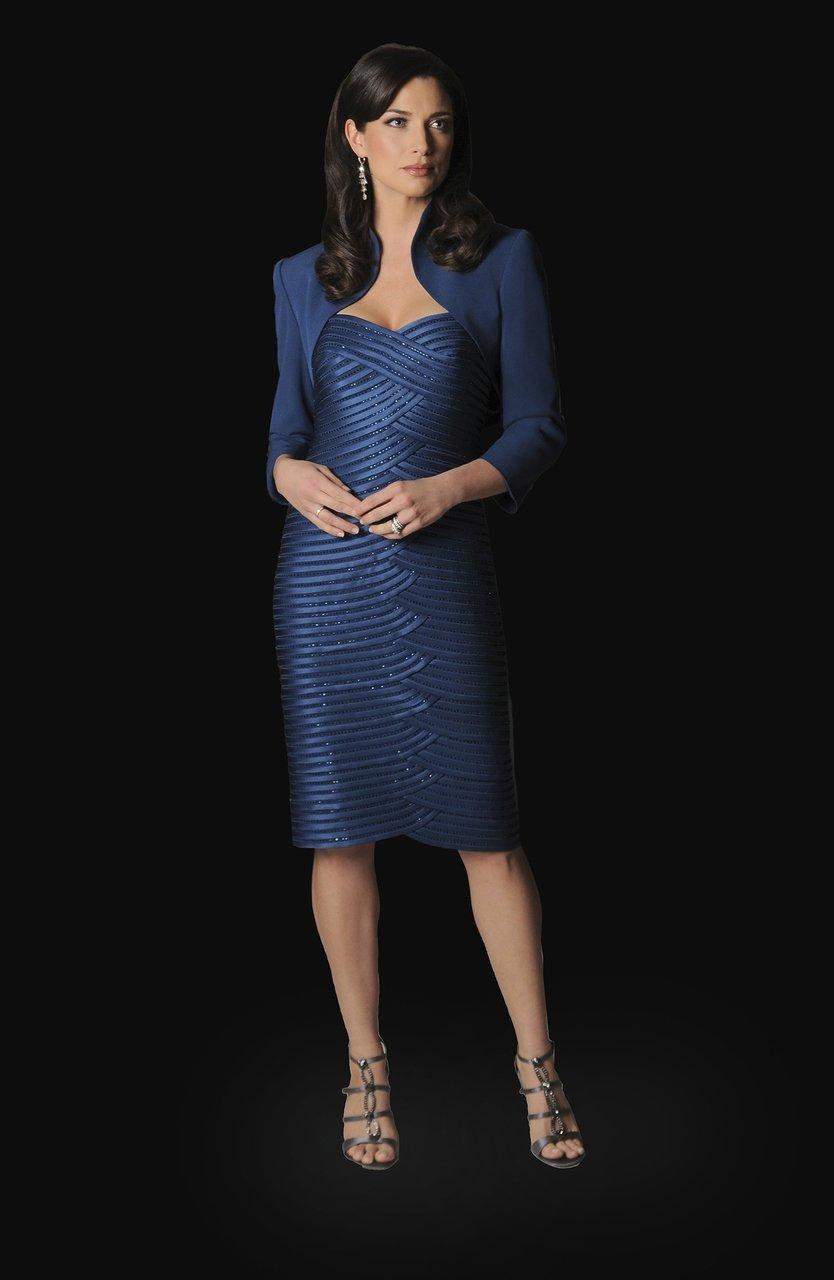 Daymor Couture - Metallic Interspersed Sheath Dress 1019
