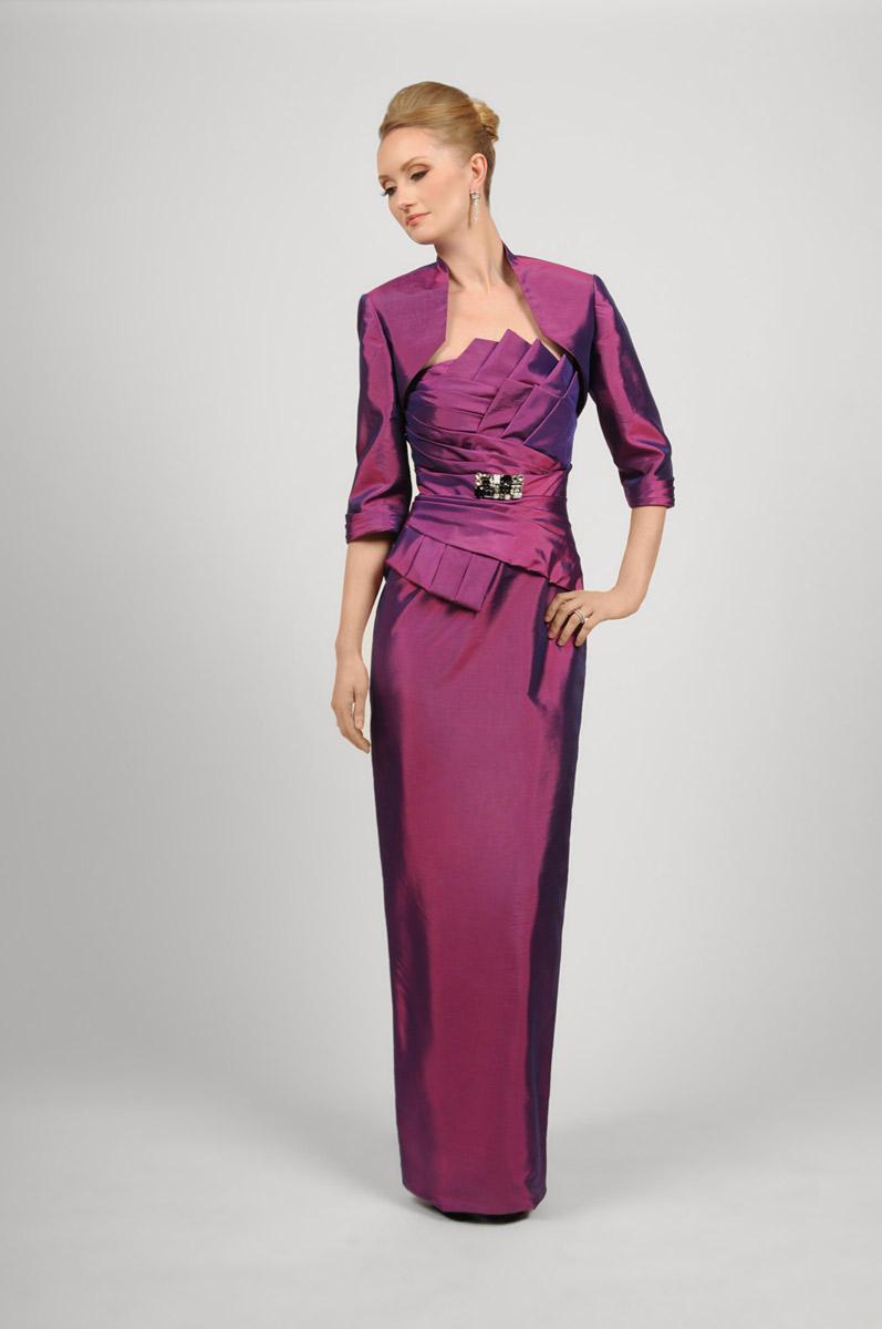 Daymor Couture - Pleated Fan Bustline Sheath Dress 424