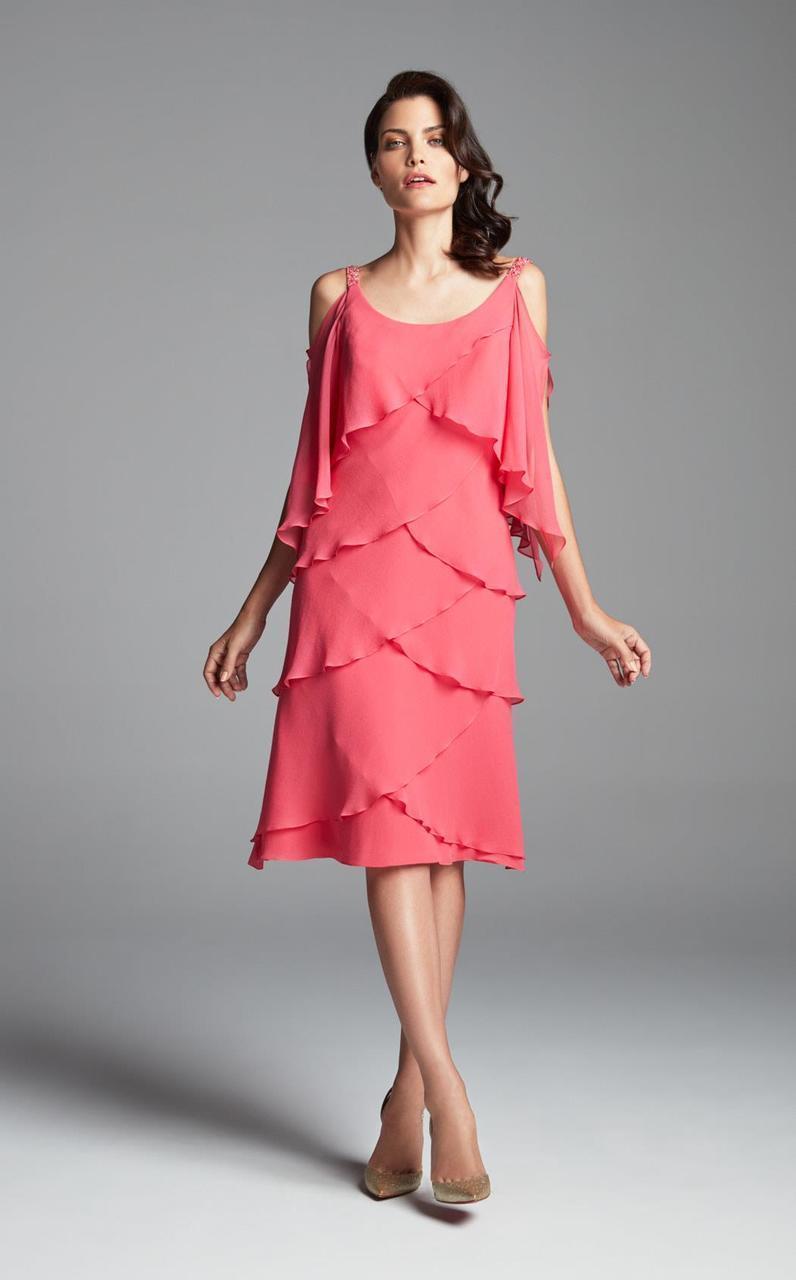 Daymor Couture - Tiered Petal Cold Shoulder Dress 381