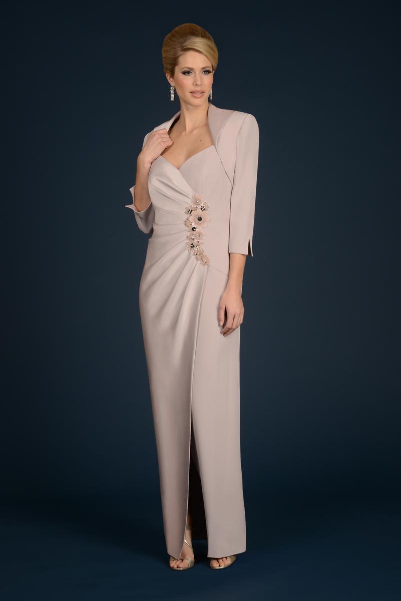 Daymor Couture - V Neck Long Dress with Bolero 705