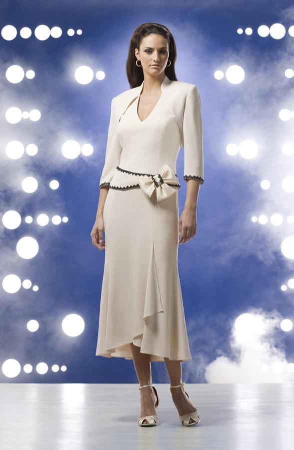Daymor Couture - V-Neck Tea Length Dress 8016
