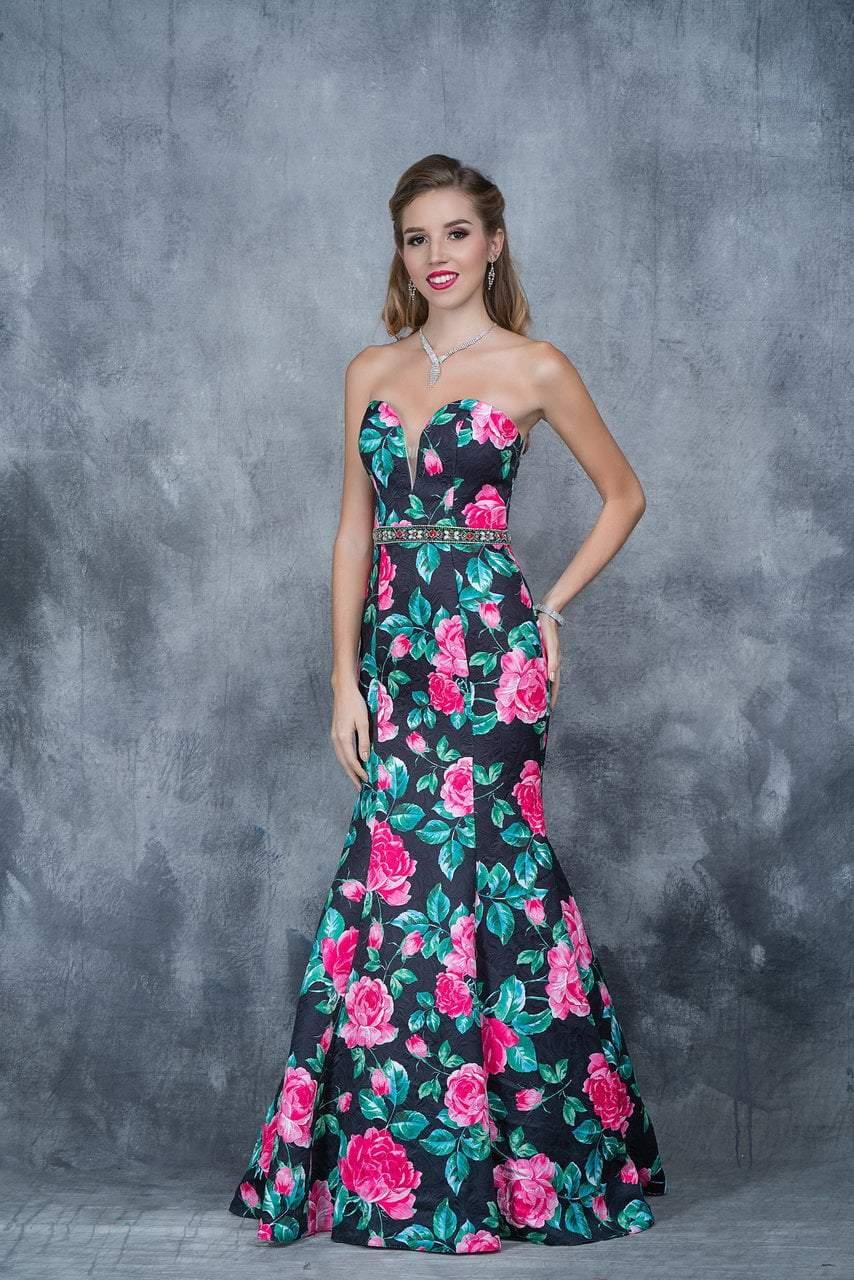 Nina Canacci - 1362 Floral Deep Sweetheart Mermaid Dress