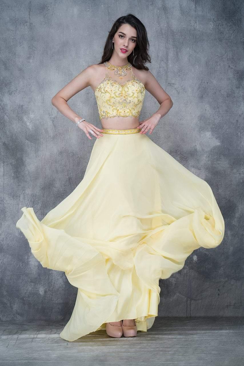 Nina Canacci - 1365 Embellished Illusion Halter A-line Dress