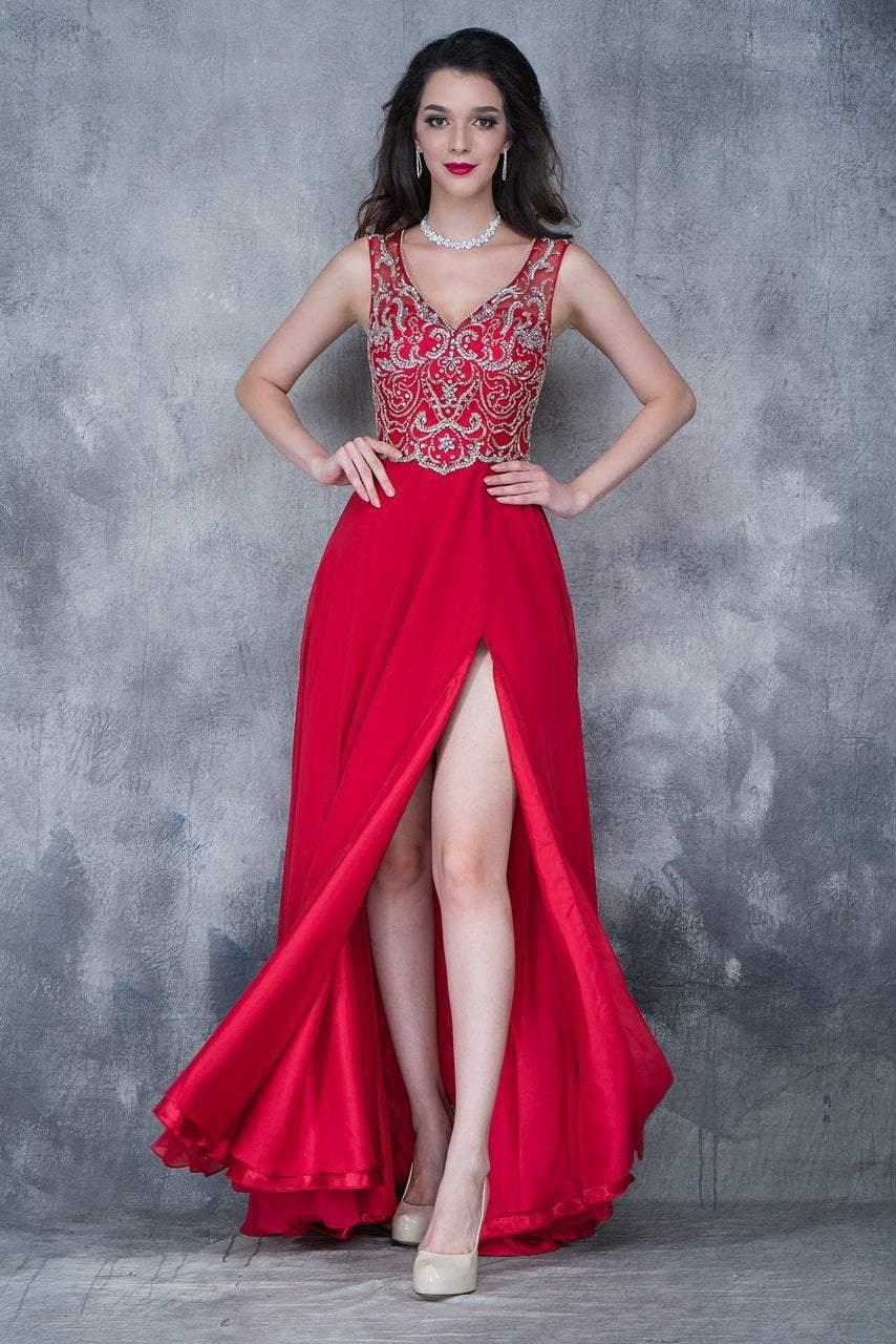 Nina Canacci - 1367 Embellished V-neck A-line Dress