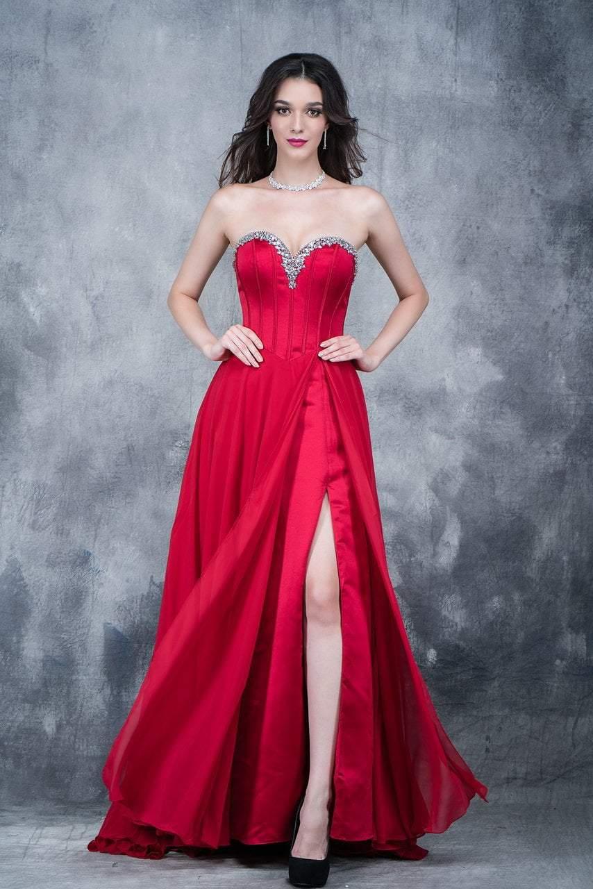 Nina Canacci - 1391 Bejeweled Sweetheart A-line Dress