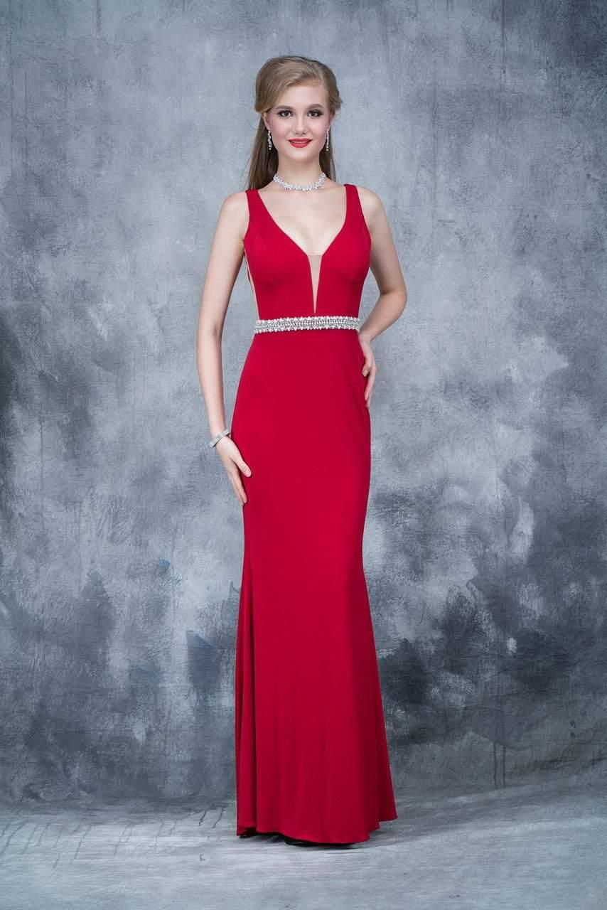 Nina Canacci - 2124 Plunging Adorned Waist Sleeveless Gown