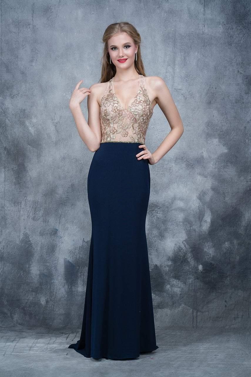 Nina Canacci - 2130 Embroidered Illusion V-neck Sheath Dress
