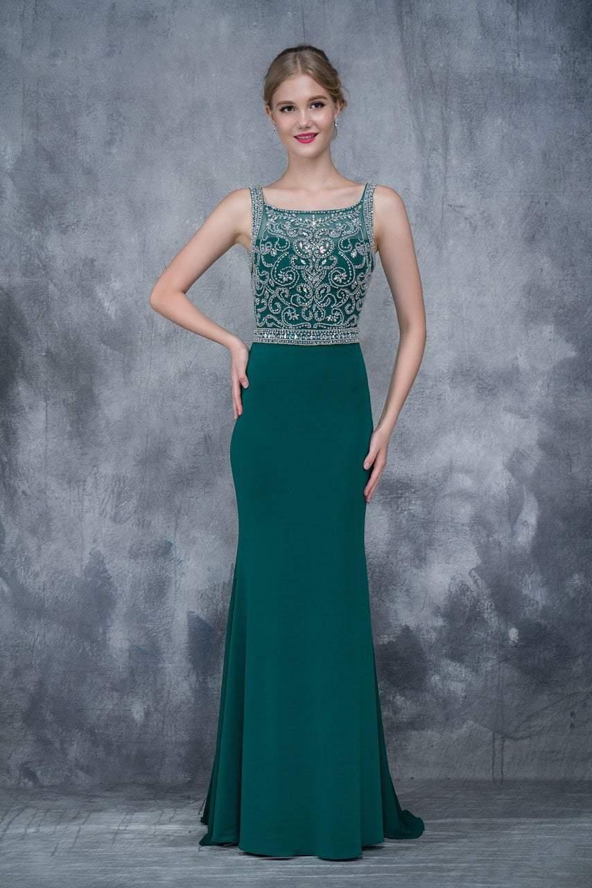 Nina Canacci - 2166 Bejeweled Illusion Bateau Sheath Dress