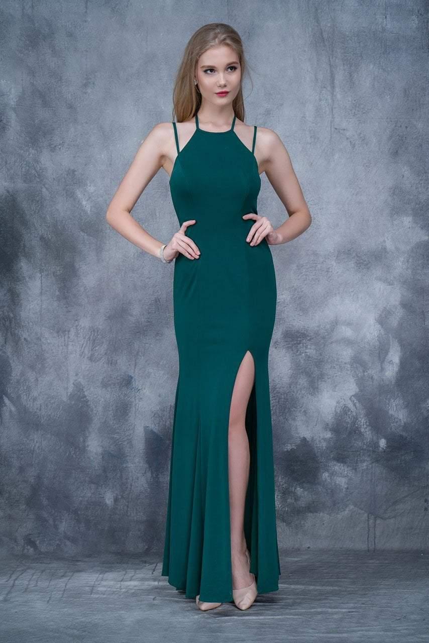 Nina Canacci - 2167 High Halter Sheath Gown with Slit