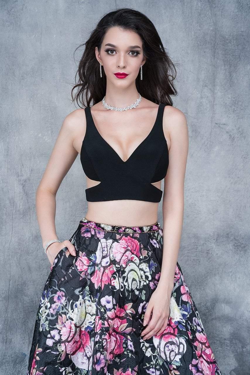 Nina Canacci - 5108 Two-Piece Crisscross Cutout Evening Dress