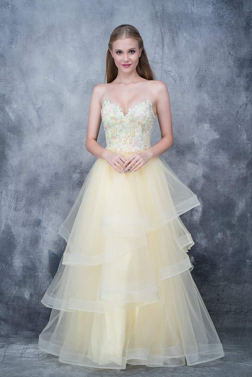 Nina Canacci - 5121 Sweetheart Lace Beaded Ruffle Tier Gown