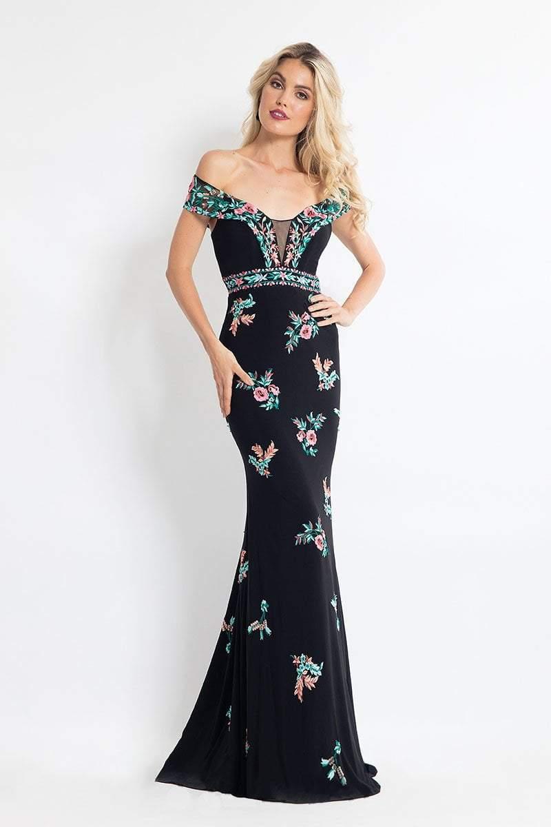 Rachel Allan - 6056 Embroidered Illusion Off Shoulder Dress