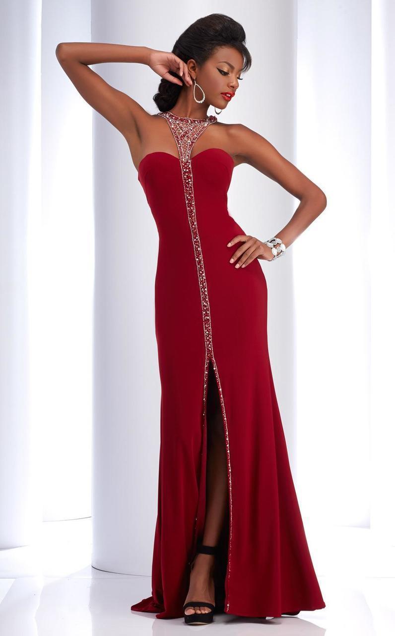 Clarisse - 2797 Bejeweled Halter Sheath Dress