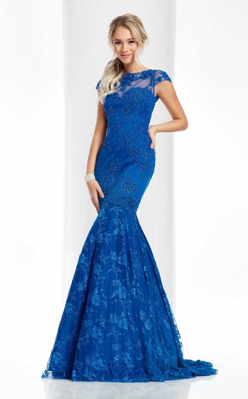 Clarisse - 3065 Sheer Cap Sleeves Applique Gown