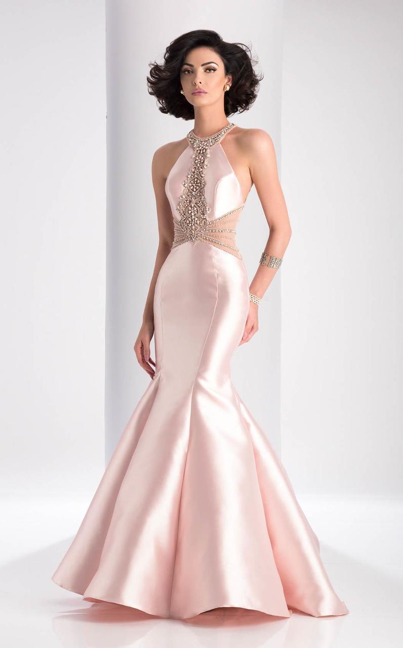 Clarisse - 3139 Embellished Halter Mermaid Gown