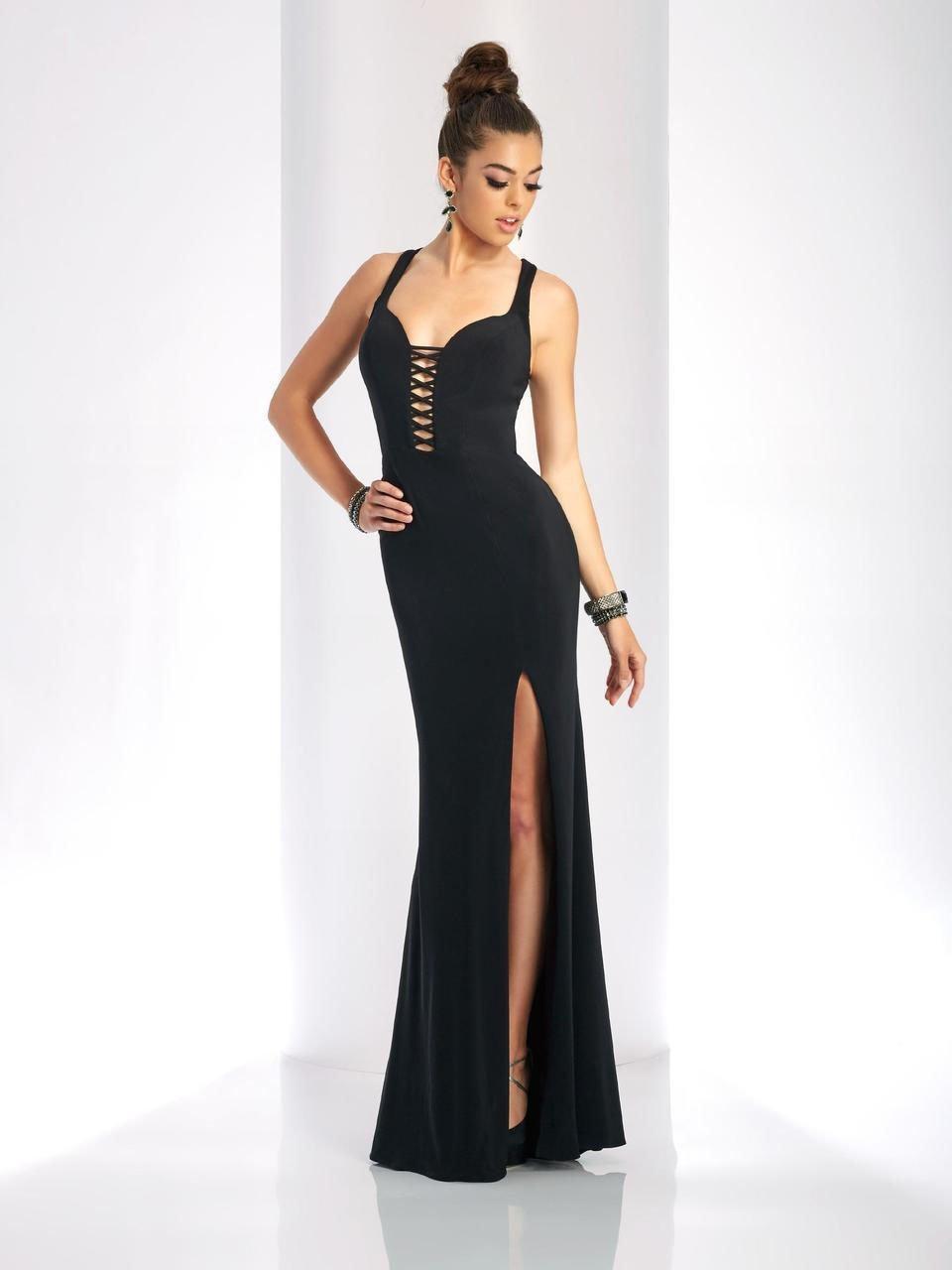 Clarisse - 3406 Plunging V-neck Sheath Dress
