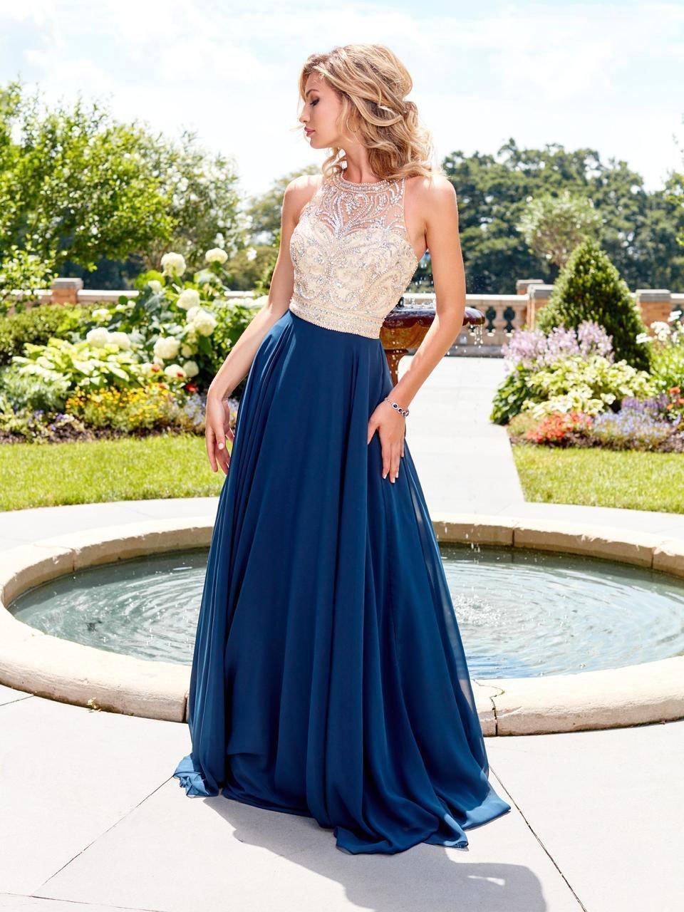 Clarisse - 3465 Jewel Ornate Illusion Halter Gown