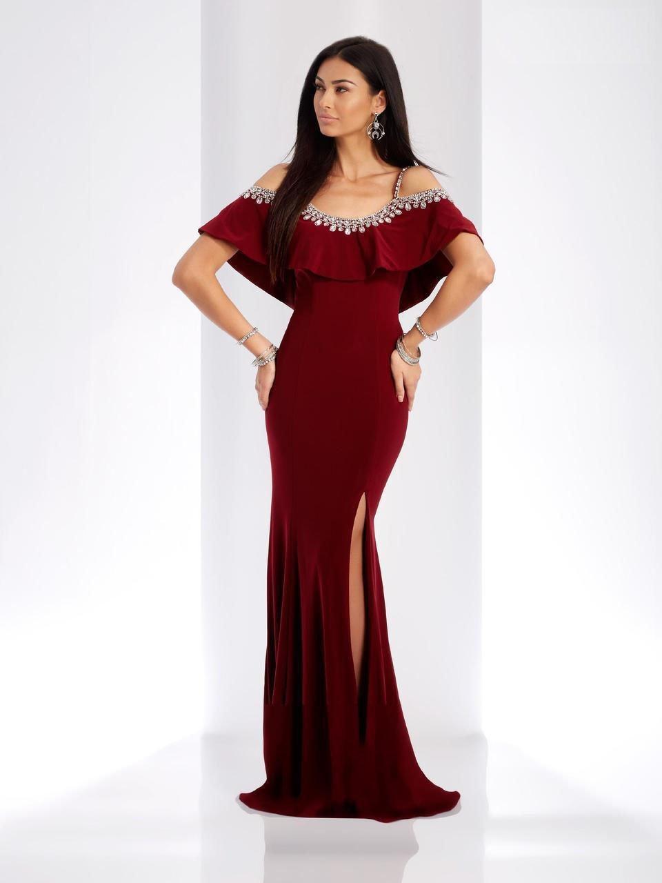 Clarisse - 3497 Jeweled Scoop Neck Sheath Dress