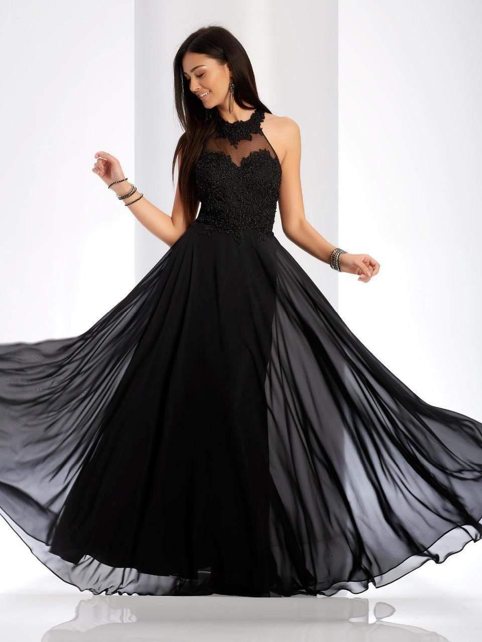 Clarisse - 3528 Jeweled Lace Applique Halter Gown