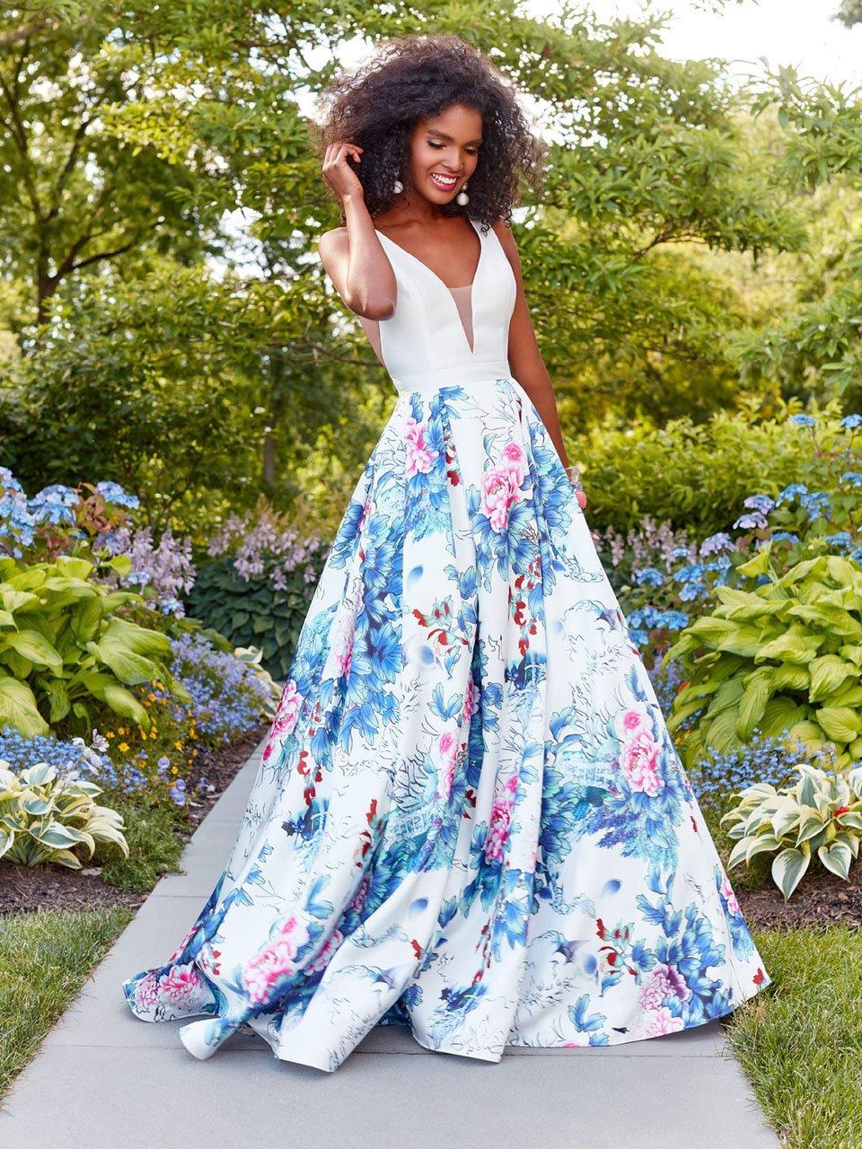 Clarisse - 3538 Deep V-Neck Floral Mikado Evening Gown