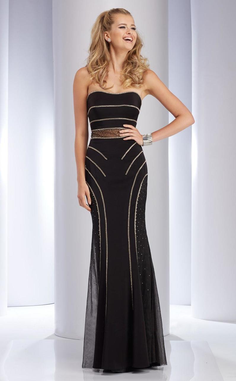 Clarisse - 4708 Embellished Straight Across Sheath Dress