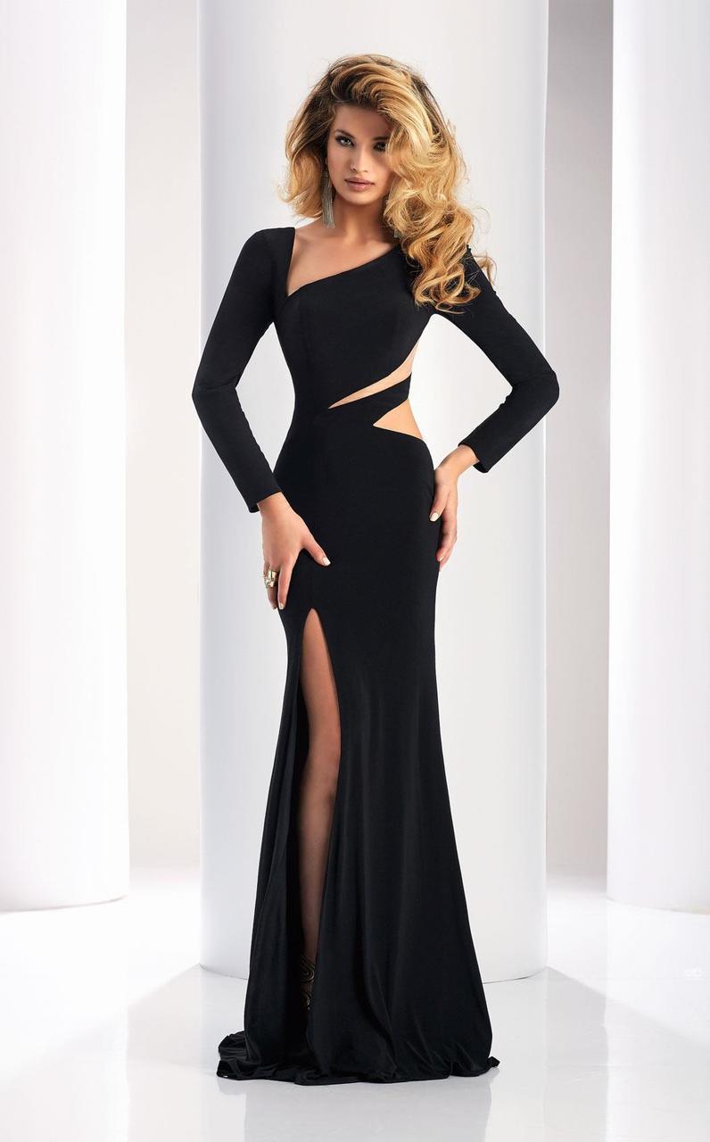 Clarisse - 4859 Long Sleeve Cutout Sheath Gown