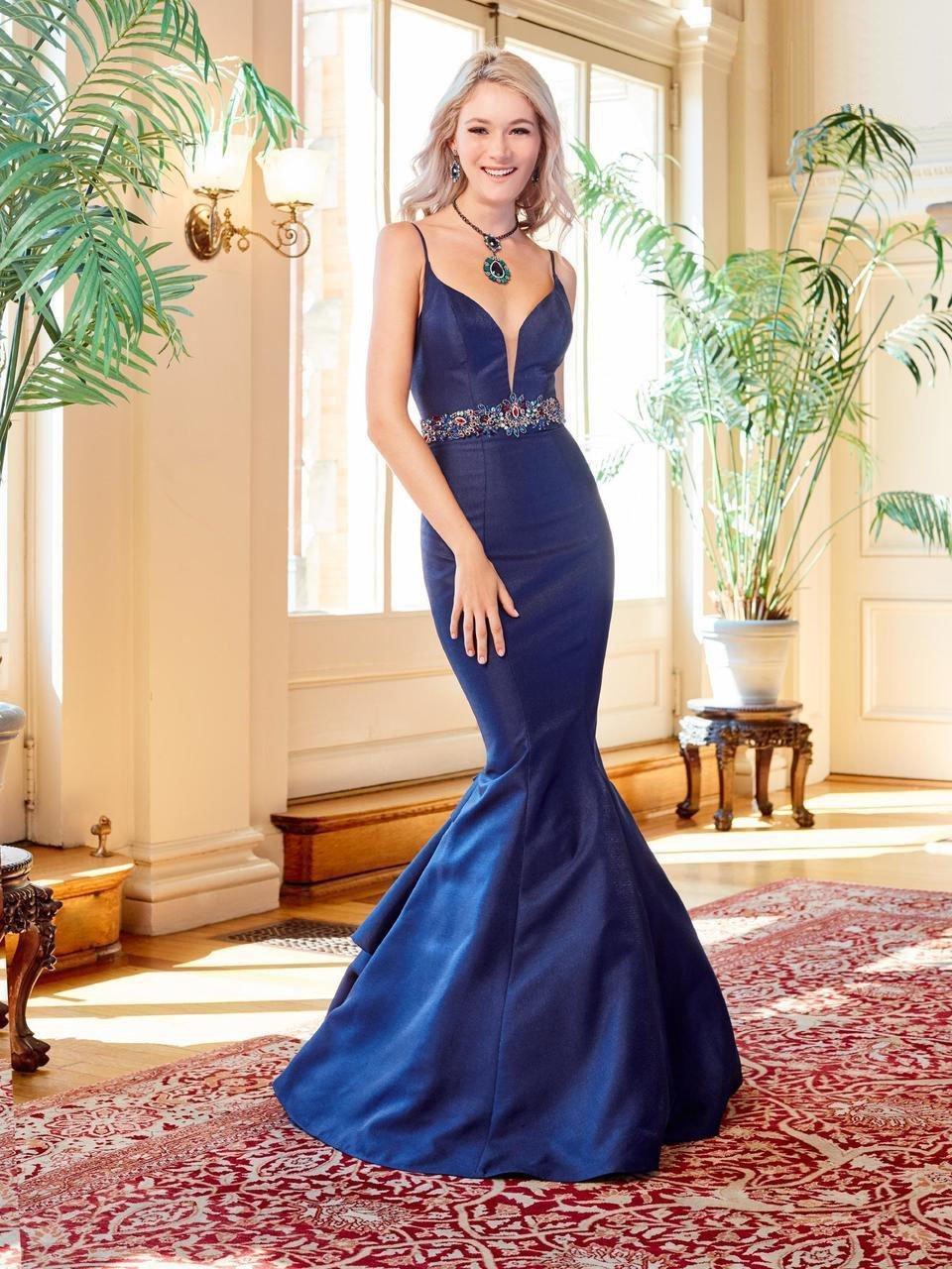 Clarisse - 4922 Jeweled Deep V-neck Mermaid Dress