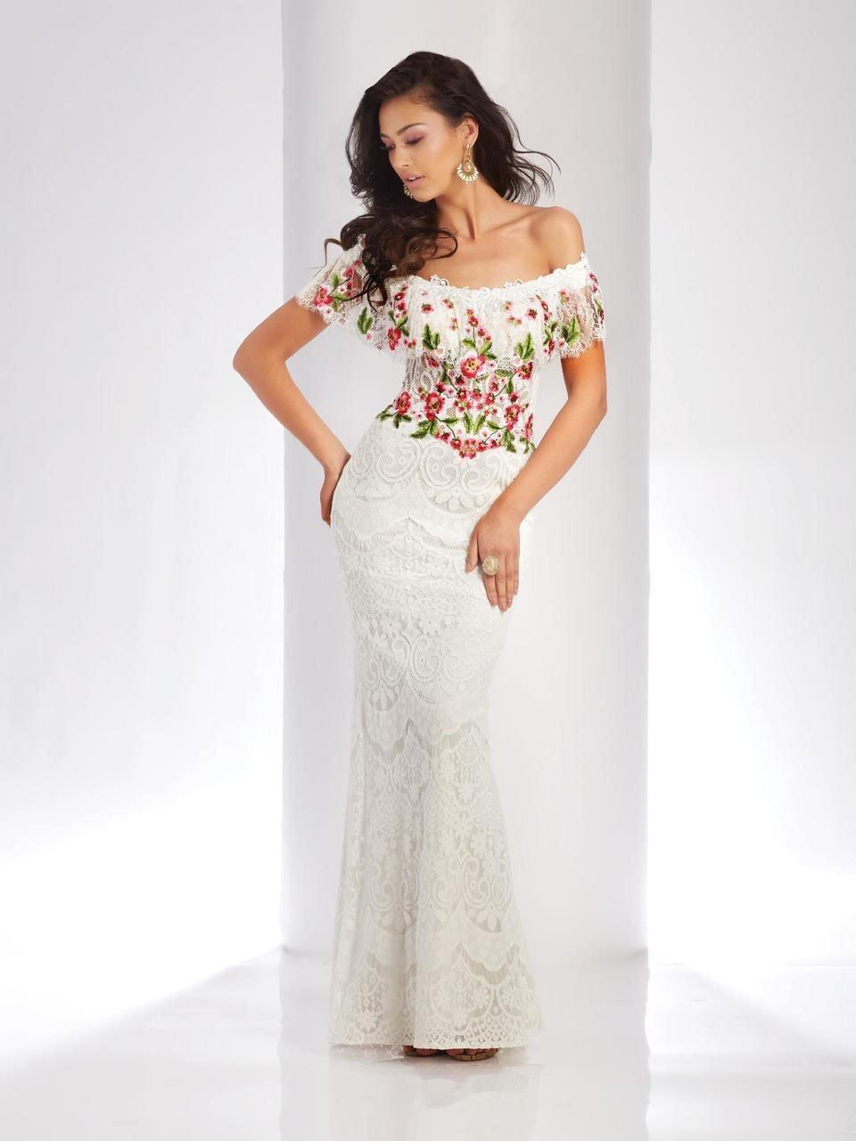 Clarisse - 4954 Embroidered Floral Off-Shoulder Gown