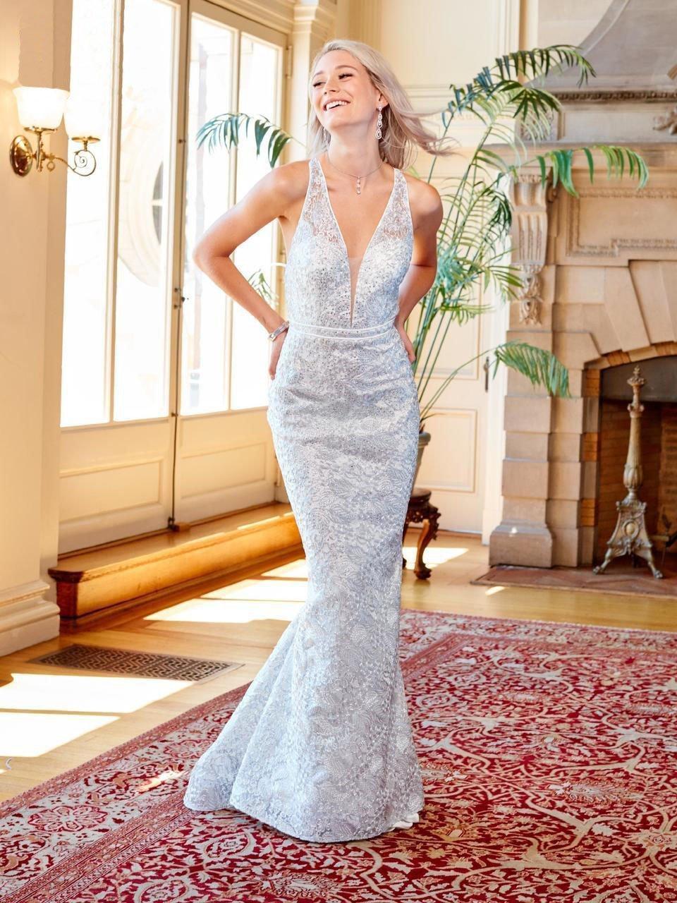 Clarisse - 4960 Deep V-neck Lace Mermaid Dress