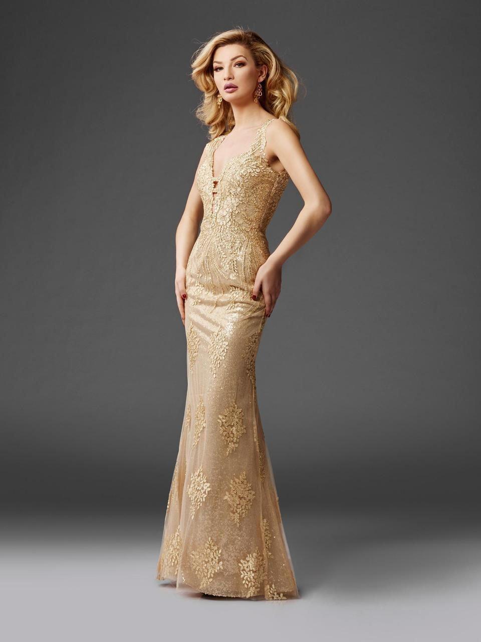 Clarisse - 4961 Embellished Deep V-neck Sheath Dress