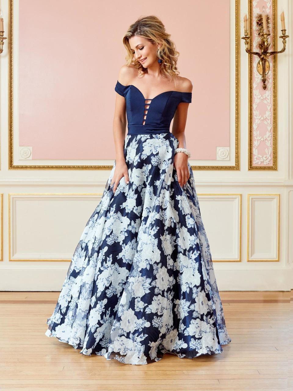 Clarisse - 4966 Off-Shoulder Plunging Floral Gown