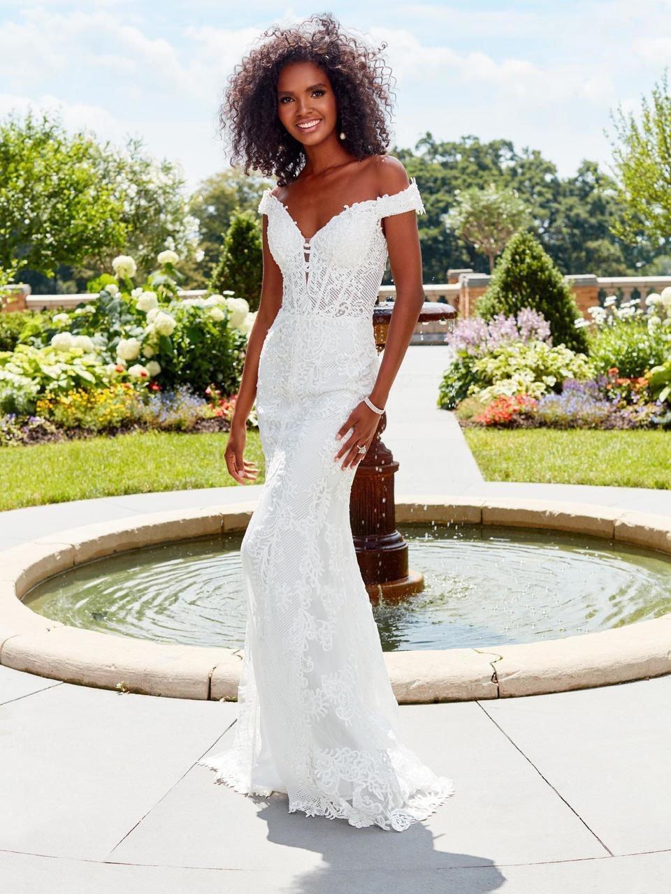 Clarisse - 4969 Off Shoulder Appliqued Corset Gown
